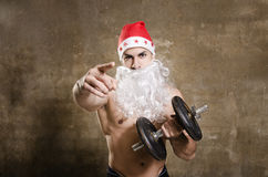 Santa pointing you for training after Christmas Stock Photo