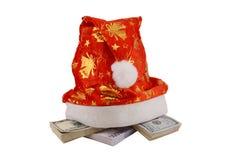 Santa pojedynczy biały kapelusz Obraz Royalty Free