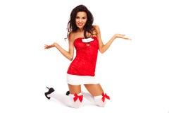 Santa pomagiera dziewczyna na białym tle z długie włosy Obrazy Stock