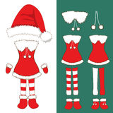 Santa Pompom Hat and Woman Outfit. Gloves , Red and White Stripe Socks and Boots. Christmas Costume Set. Vector Illustration. On White Background Stock Photography