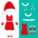 Santa Pompom Hat and Woman Outfit.. Gloves , Red and White Stripe Socks and Boots. Christmas Costume Set. Vector Illustration.  on White Background Royalty Free Stock Photo