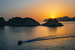 Santa Ponsa coastline at sunset in Mallorca, Spain Royalty Free Stock Photos