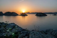 Santa Ponsa coastline at sunset in Mallorca, Spain. Majorca Santa Ponsa coastline at sunset in Morro d'en Pere Joan bay in Mallorca, Balearic islands of Spain Stock Photography