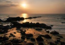 Santa Ponsa coastline at sunset in Mallorca, Spain Royalty Free Stock Photos