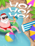 Santa Pool Party Christmas Stock Image