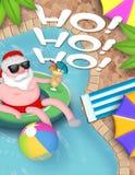Santa Pool Party Christmas stock illustration