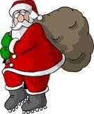 Santa portant un sac des cadeaux illustration de vecteur