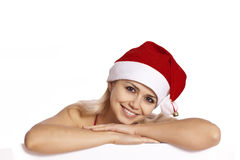 Santa Portrait - Beautiful santa girl Royalty Free Stock Images