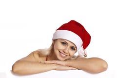 Santa Portrait - Beautiful santa girl Royalty Free Stock Images