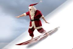 Santa praticante il surfing Fotografia Stock Libera da Diritti