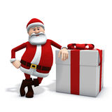 Santa with present. 3d rendering/illustration of a cartoon santa leaning against a big present Royalty Free Stock Image