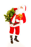 Santa with present and christmas tree Royalty Free Stock Photo