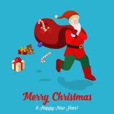 Santa present gift bag Christmas holiday flat isometric vector Royalty Free Stock Images