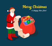 Santa present gift wish list Christmas flat isometric vector 3d Stock Images