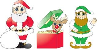 Santa, presente da rena e duende Fotos de Stock Royalty Free