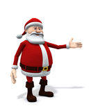 Santa presenting. 3d rendering/illustration of a cartoon santa presenting something on his left side / screen right side Stock Image