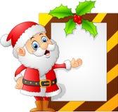 Santa presenting blank sign. Illustration of santa presenting blank sign Royalty Free Stock Photography