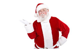 Santa presenting  product. Real Santa Claus presenting  product on white background Stock Photography
