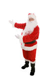 Santa Presents. Full body view of Santa Claus with his arms raised in a presenting gesture.  Isolated on white Stock Photography
