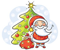 Santa with presents and Christmas tree Stock Photo