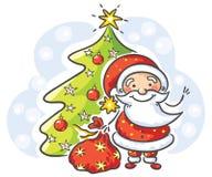 Cartoon Santa With Presents And Christmas Tree Stock Vector ...