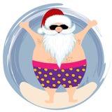 Santa przy plażą ilustracji
