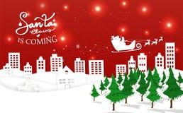 Santa przychodzi, świętowanie wioska i miasto, Wesoło Christma ilustracji