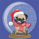 Santa Pug Dog Illustration Libre de Droits