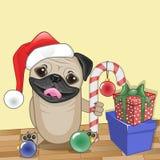 Santa Pug Dog Images stock
