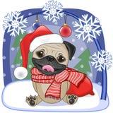 Santa Pug Dog Illustration Stock