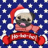 Santa Pug Dog Photographie stock libre de droits