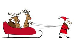 Santa pulling the Christmas sleigh Royalty Free Stock Photography