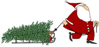 Santa pulling a Christmas tree Stock Photos
