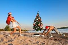 Santa pulling Christmas tree Royalty Free Stock Image
