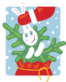Santa pulls a rabbit out of the bag. Rabbit keeps a Christmas tree Stock Illustration