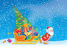 Santa pulls the sledge with the Christmas tree and. Santa Claus pulls the sledge overfilled with the Christmas gifts and Christmas tree Royalty Free Stock Images