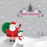 Santa, pupazzo di neve, fondo Immagini Stock Libere da Diritti