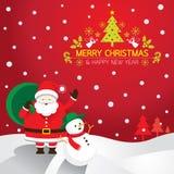 Santa, pupazzo di neve, fondo Fotografie Stock