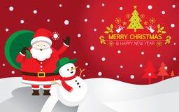 Santa, pupazzo di neve, fondo Fotografia Stock Libera da Diritti