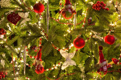 Santa puppets in christmas tree Royalty Free Stock Photos