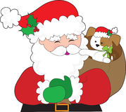 Santa and Puppy Gift Royalty Free Stock Photos