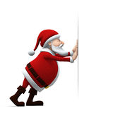 Santa pushing. 3d rendering/illustration of a cartoon santa pushing a big sign Stock Photo