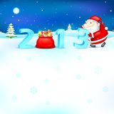 Santa pushing 2013. Illustration of Santa Claus pushing 2013 for New Year Royalty Free Stock Photo