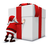 Santa pushing big present. 3d rendering/illustration of a cartoon santa  pushing a big present Royalty Free Stock Photography