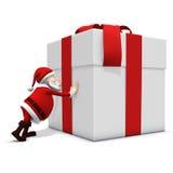 Santa pushing hard Royalty Free Stock Photo