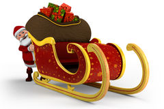 Santa pushing his sleigh vector illustration