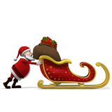 Santa pushing sleigh vector illustration