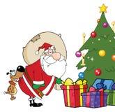 Santa puso los regalos bajo el árbol de navidad ilustración del vector