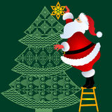 Santa putting topper on tree. Santa standing on stepstool putting topper on tree in vector use together or separate Stock Photo