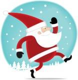 Santa que anda na neve Fotos de Stock Royalty Free
